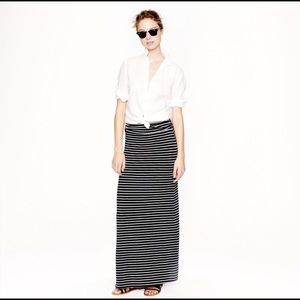 J. Crew Navy/Gray Striped Maxi Skirt